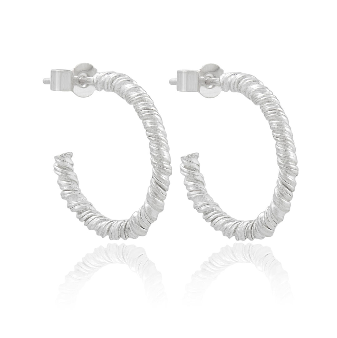 Natalie Perry Jewellery, Small Silver Organic Twisted Hoops